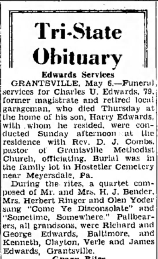 Obituary of Charles U. Edwards -