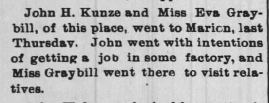 - John H. Kunze and Miss Eva Gray - bill, of this...