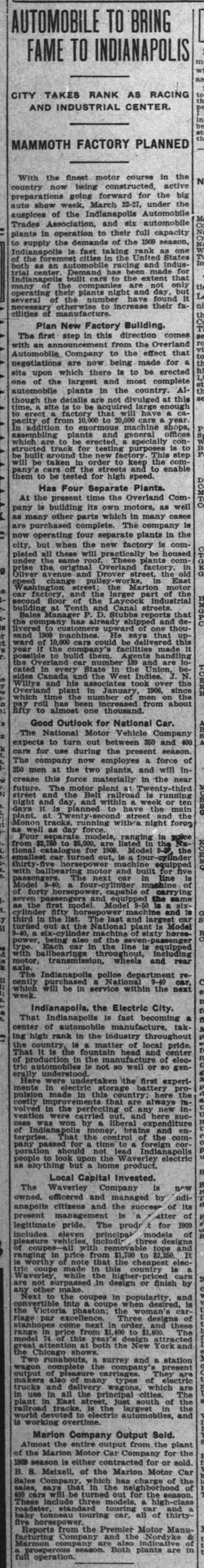 Automobile Industry Indianapolis Feb 1909 -