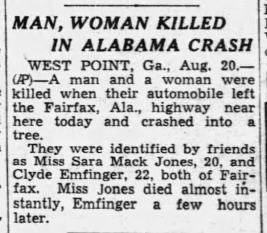 Clyde Emfinger Fairfax auto accident death at 22 y o  - Newspapers com