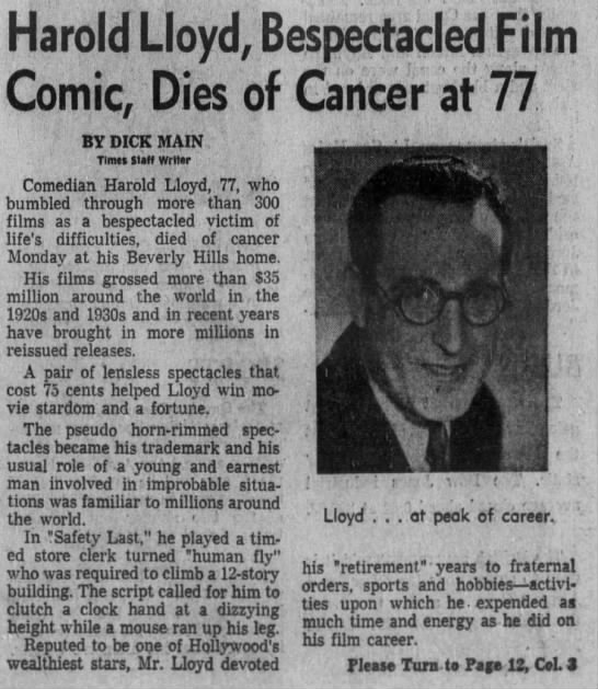 Harold Lloyd, Bespectacled Film Comic, Dies of Cancer at 77 -