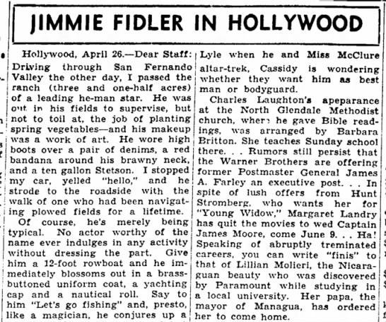 Jimmie Fidler in Hollywood. The Joplin Globe, Joplin, Missouri 27 April 1945, p 18 -