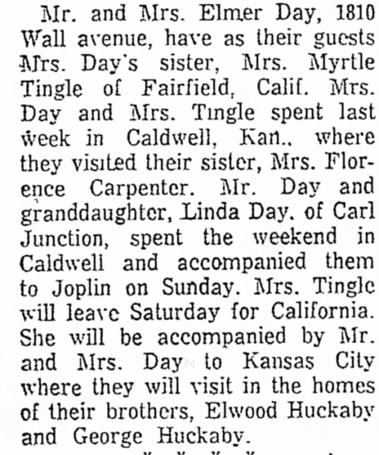 Elwood and George Huckaby - * * * Mr. and Mrs. Elmer Day, 1810 avenue, have...