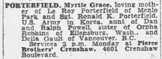 Myrtle Grace Porterfield - POBTERFIELD. Myrtle Grace, loving moth er or Le...