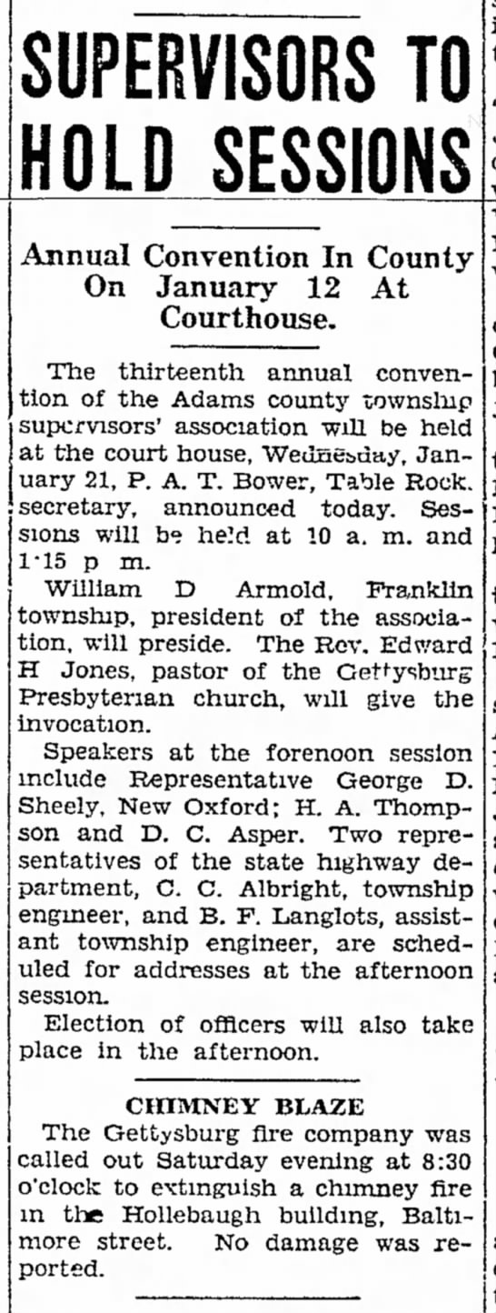 1931 Wm D Armold of Franklin Twp is pres of Adams twp supervisors accoc -