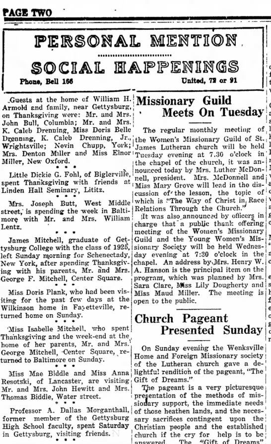 1925 Thanksgiving guests of Wm H Armold -
