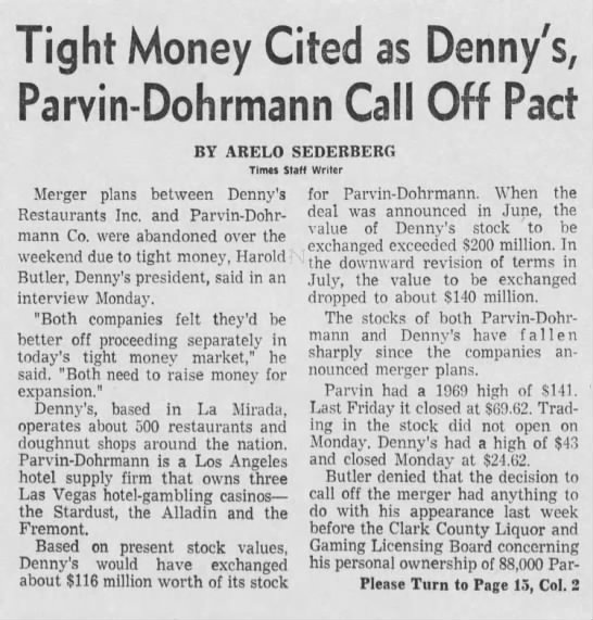 Tight Money Cited as Denny's, Parvin-Dohrmann Call Off Pact -