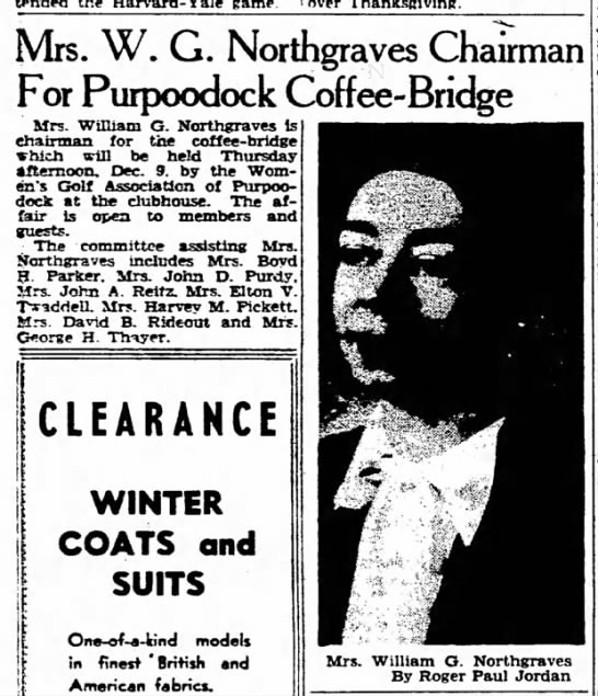 Mrs W G Northgraves - Coffee/Bridge -