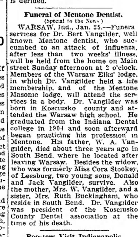 Dr. VanGilder 25 Jan 1919 obit -