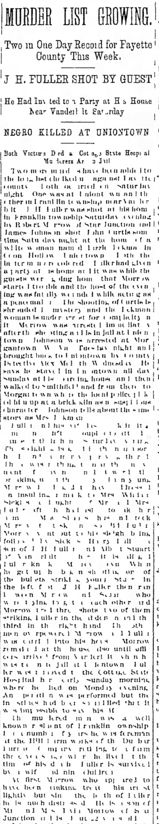 Shooting J H Fuller reported 2/21/1902 The Daily Courier  -
