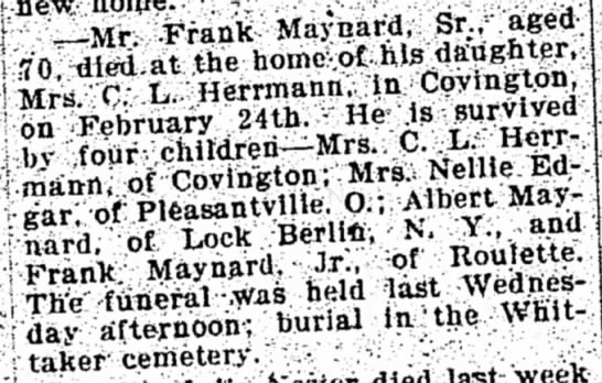 Obit of Frank Maynard Sr.  Feb 24, 1908 -