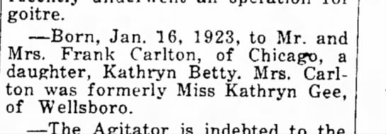 Aunt Betty birth announcement 7 Feb 1923 -
