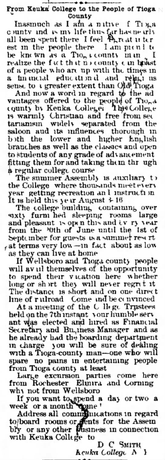 1892_Keuka College as Summer Resort -