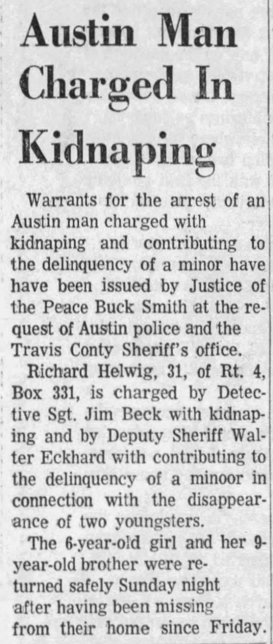 Richard Helwig kidnapping Austin TX -