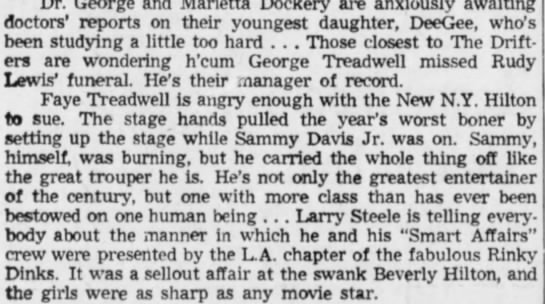 George Treadwell was not at Rudy Lewis's funeral -