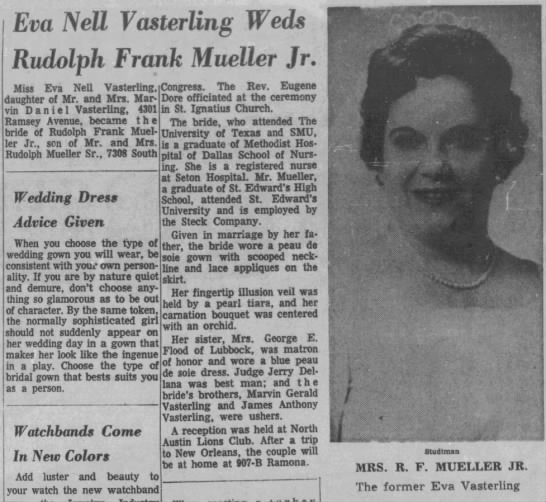 EvaNellVasterling Wedding Ann. AAS03May1964 -