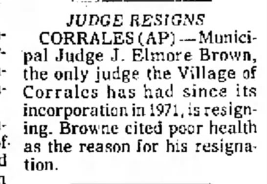 John Elmore Brown Resigns as Judge Silver City Daily Press 17 Sept 1976 -