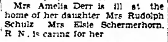 Amelia Derr sick at home of her daughter 1938 -