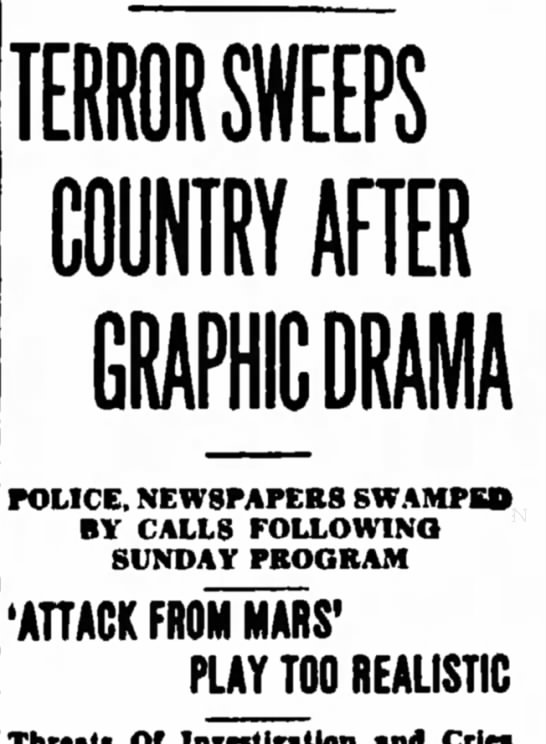 """Terror Sweeps Country"" as HG Wells' ""War of the Worlds"" reports alien invasion -"