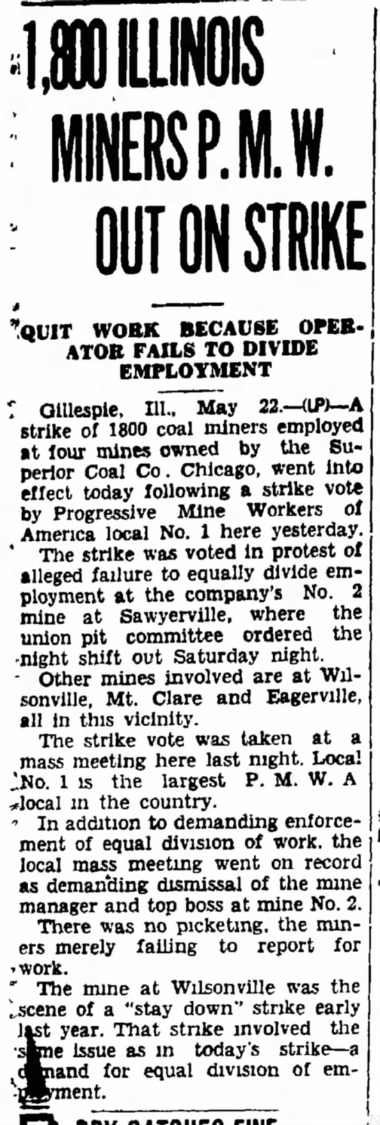 Miners strike 1 year later 5/22/39 -