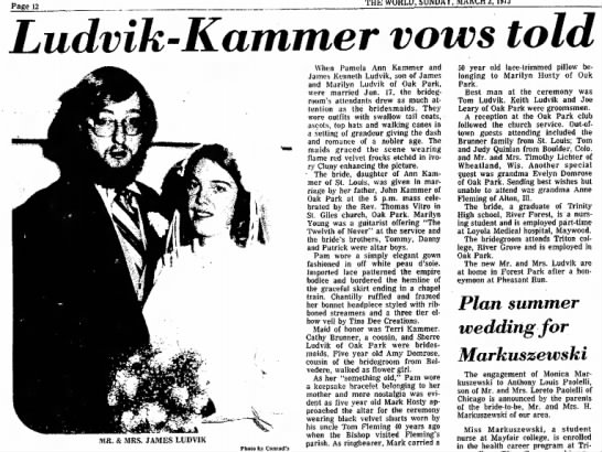 Jim Ludvik and Pam Kammer marriage announcement -