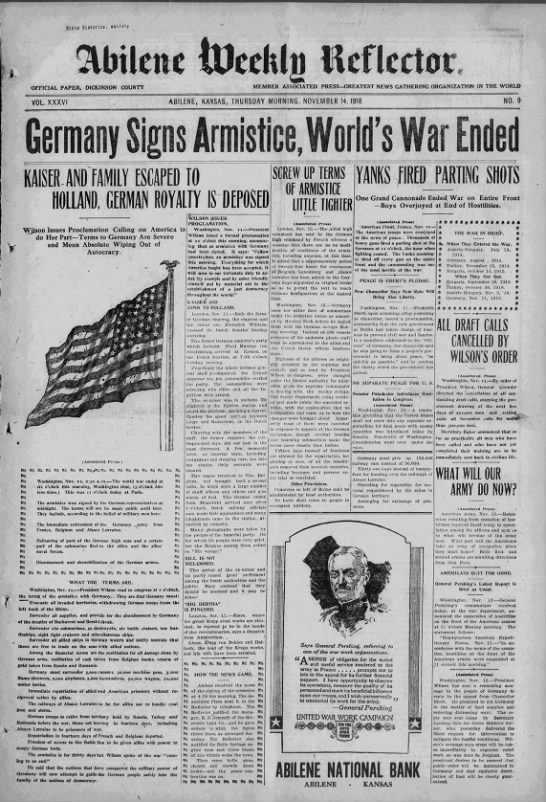 Headlines announce the end of World War I -