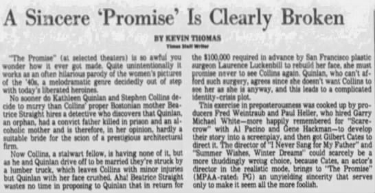 Los Angeles Times Movie Review—THE PROMISE (04-06-79) -