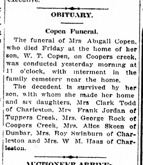 Abigail Hall Copen Obituary -
