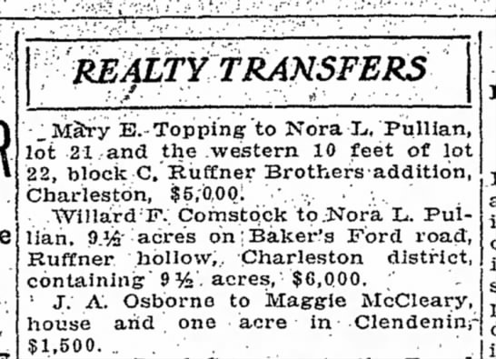 - REALTY TRANSFERS _Mary E.-Topping'to Nora X,,...