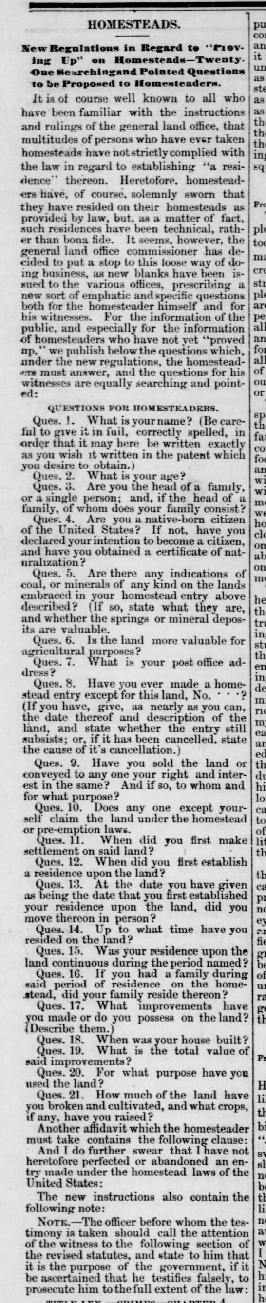20 questions homesteaders must answer as proof of settlement, 1878 -