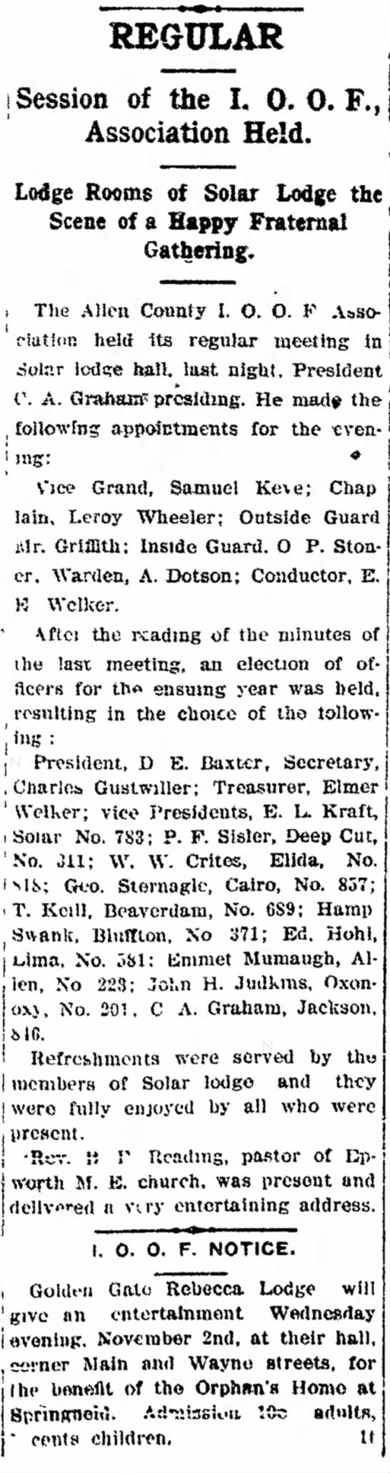 Charles Gustwiller elected Secretary of Allen County I. O. O. F. Association -