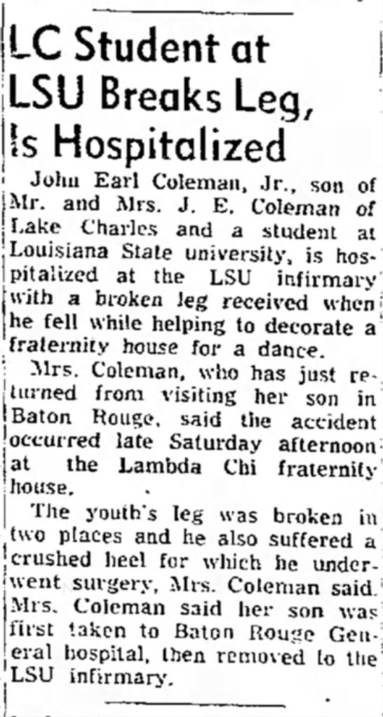 Coleman, John E. - LSU student accident, 16 Apr 1954 - LC Student at 1C I J R rpn {, c !'~ J '~' u...