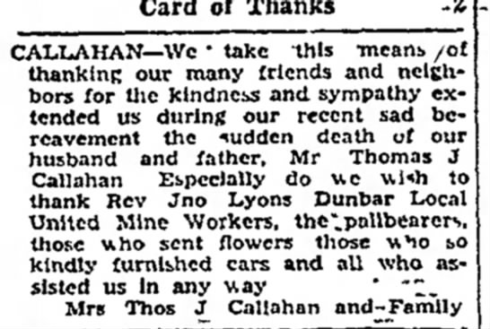 Thomas Callahan Sympathy Thank You -
