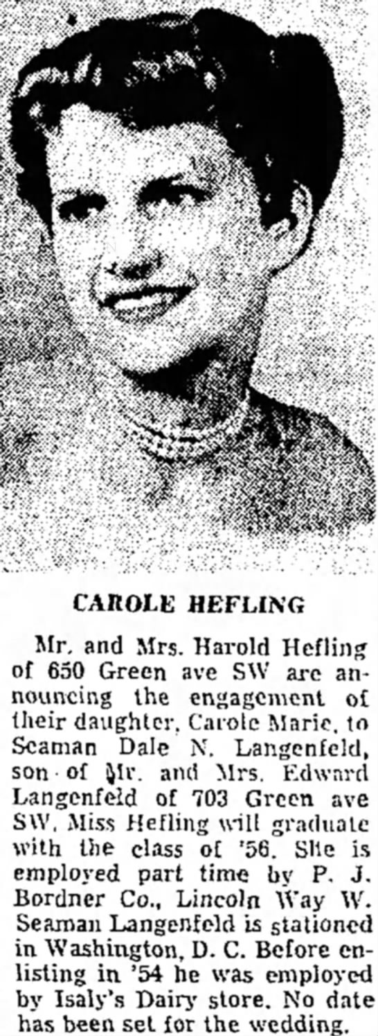Carole Marle Hefling (1938-2004) Engagement Announcement -