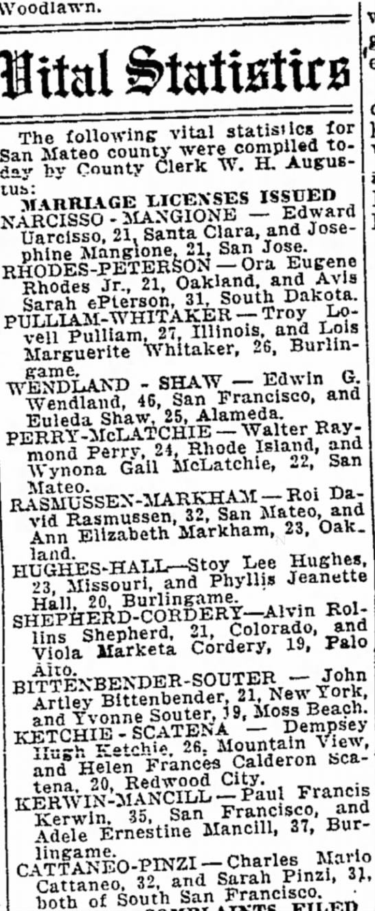 Mancill Kerwin Marriage Dec 13 1945  The Times, San Mateo -