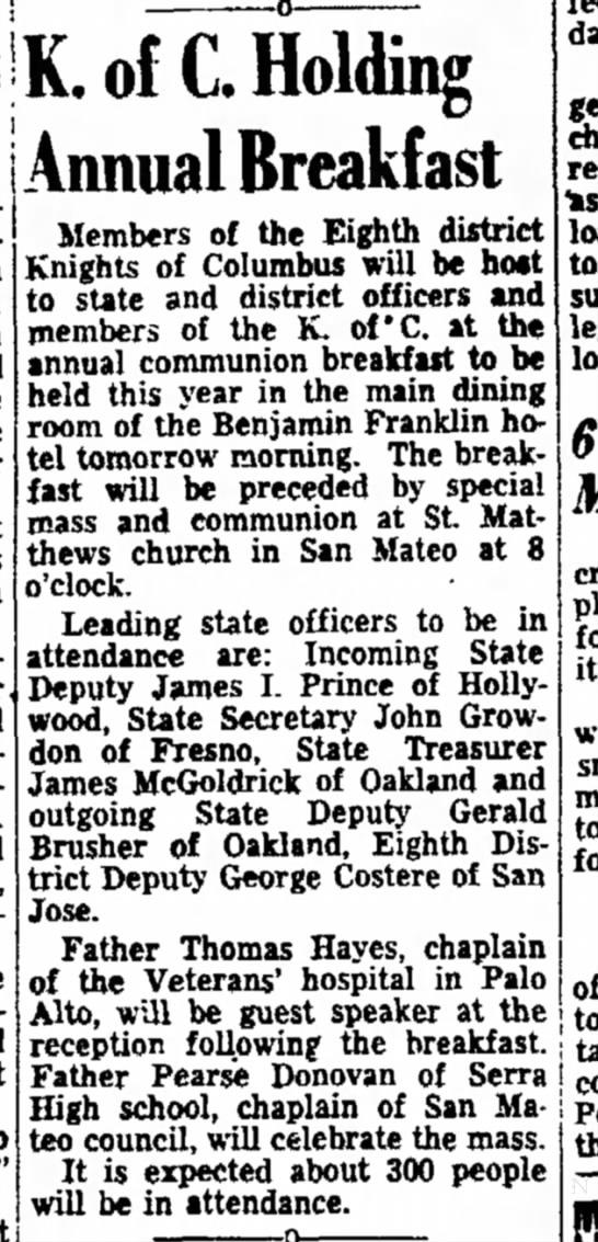 George Costere, San Jose 1947 -