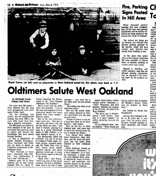 Oldtimers Salute West Oakland - May 06, 1973 - Royal Towns -