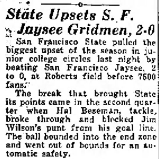 State Upsets SF Jaysee Gridmen -