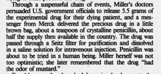 Anne Miller's doctors persuade US government for penicillin trial -