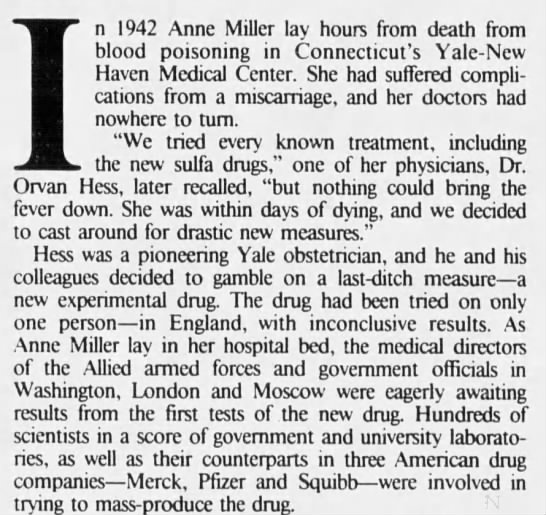 Anne Miller becomes first US patient to receive penicillin -