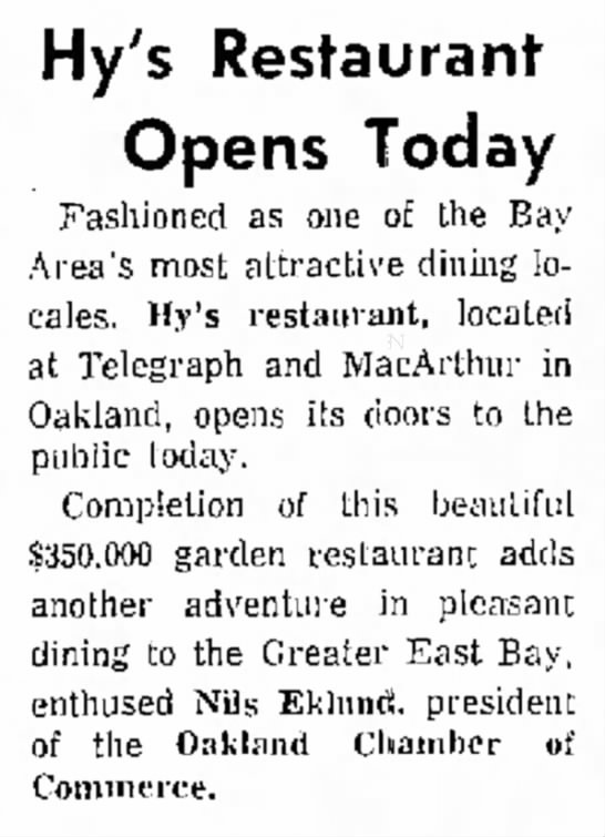 Hy's Restaurant opens -