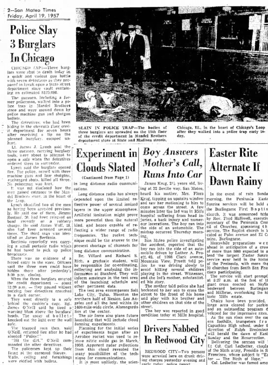 Mandel Brothers Burglary - 2--San Mateo Times Friday, April 19, 1957 H i *...