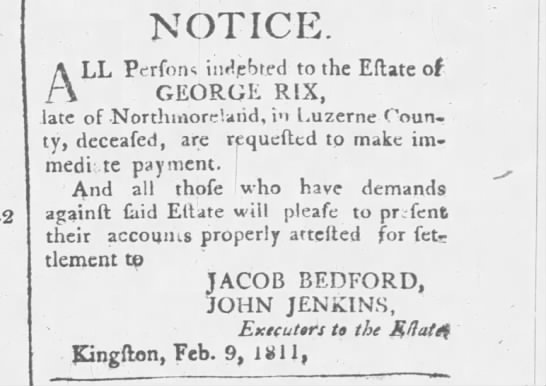 Notice to Creditors of George Rix -