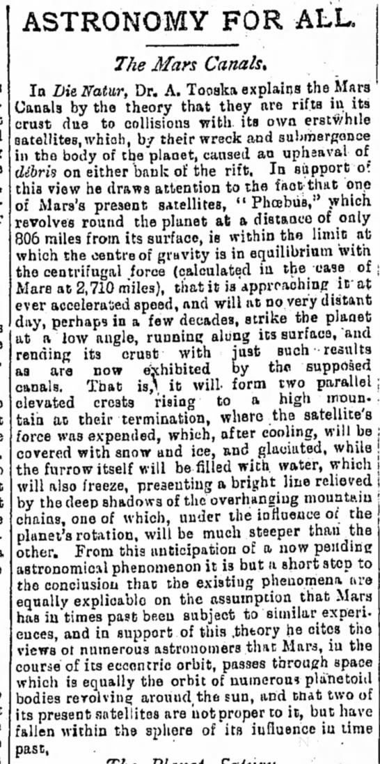 Scientist speculates that Mars canals were created by collisions with satellites, 1893 -