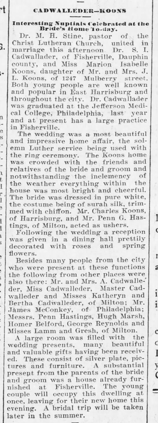 Penn Hastings usher, Hbg Telegraph, 22 May, 1901, p. 3 -
