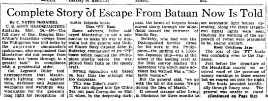 Complete Story of Escape from Bataab Now Is Told page 1 continued to page 6 - 3-8 1-8 Complete Story of Escape From Bataan...