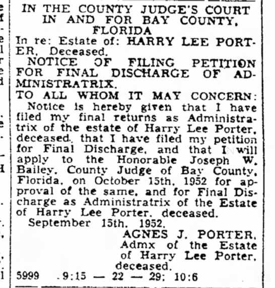 Harry Lee Porter - \ T. Earl IN THE COUNTY JUDGE'S IN AND FOR BAY...