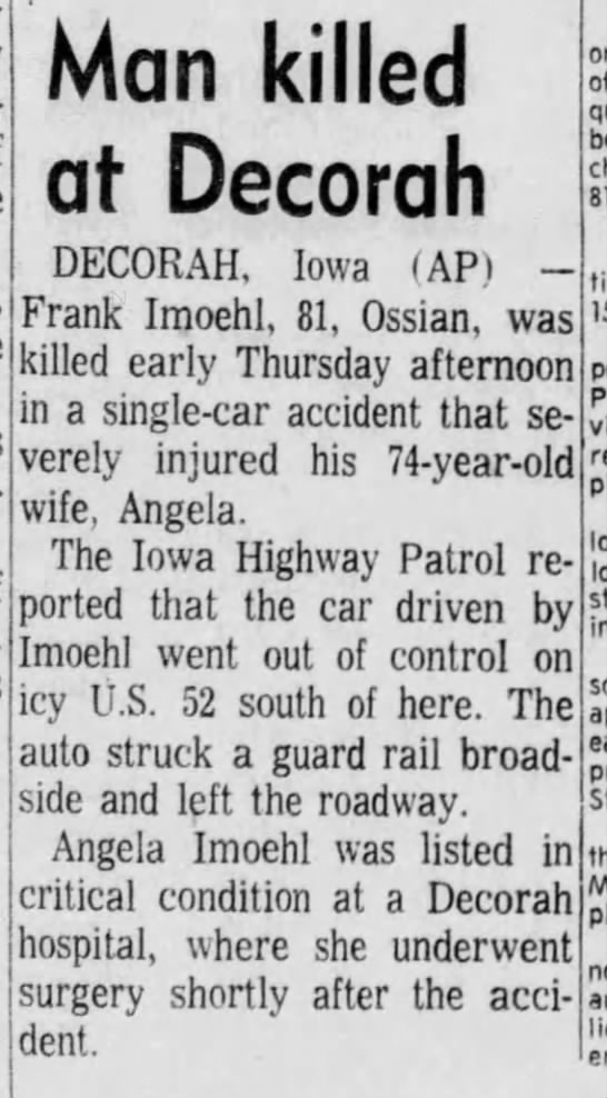 Frank Imoehl Car Accident and Death. -