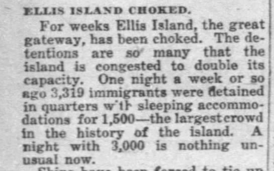 Ellis Island choked with large number of immigrants -
