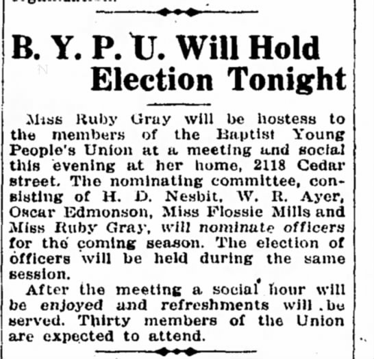 - ' B.Y.P.tJ.WillHold Election Tonight Miss Ruby...
